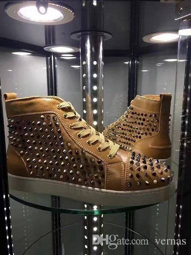 Hediye Spikes tercih Yüksek Üst Kırmızı Alt Çivili Sneakers Ayakkabı Kadınlar, erkekler Lüks Tasarımcı Düz Rahat Kırmızı Taban Sonbahar Kış Eğitmenler 35-46