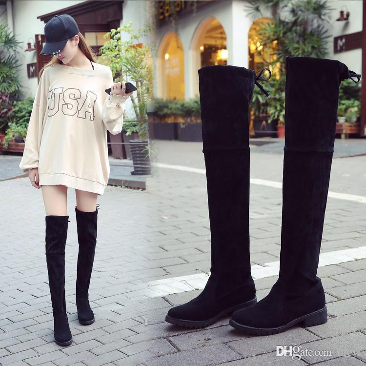 26d4407b582 Knee Boots Winter Thigh High Boots Flat Black Lace Up Boots With High  Female Fashion Shoes Sexy Boot Black Knee High Boots Chukka Boots Men From  Brew