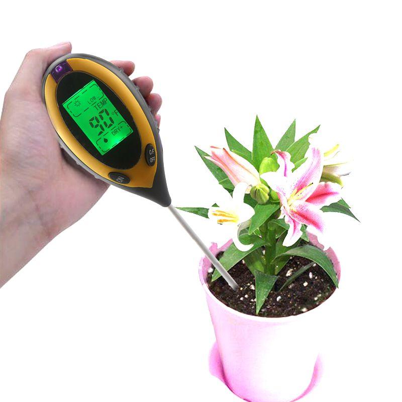 4 in 1 Digital Themometer Gardon Soil Moisture light Ph Meter Sensor Sunlight Temperature C/F LCD Backlight
