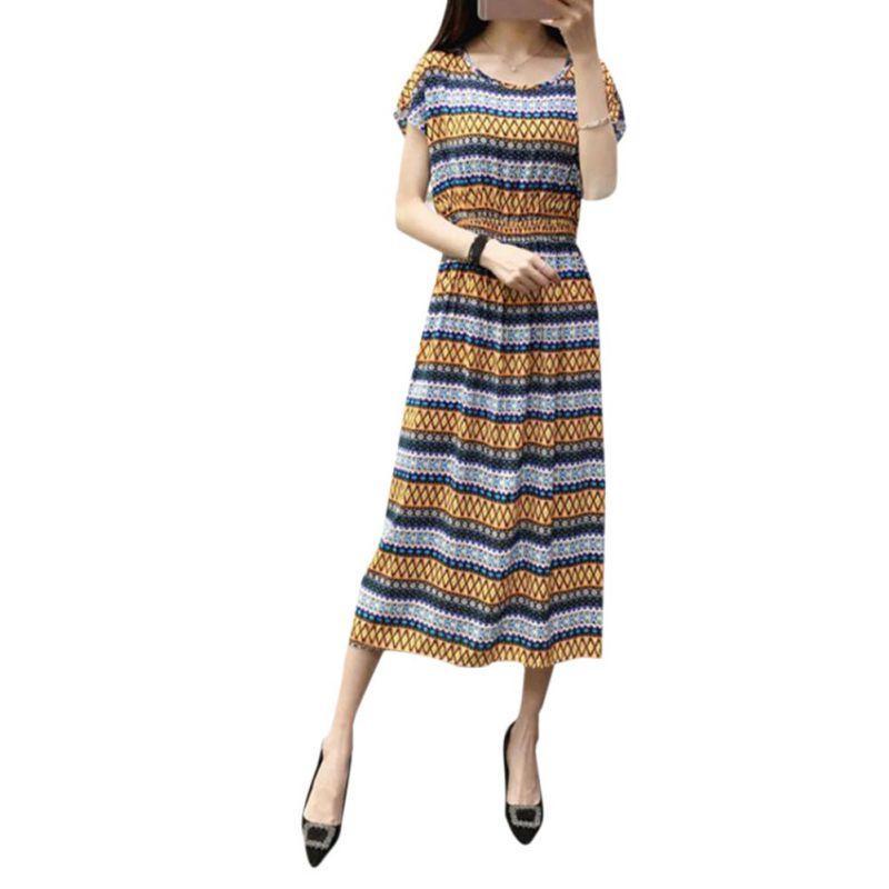 f46dd0ba03 Bohemian Women Floral Print Long Maxi Dresses Batwing Sleeves Summer Beach  Dress