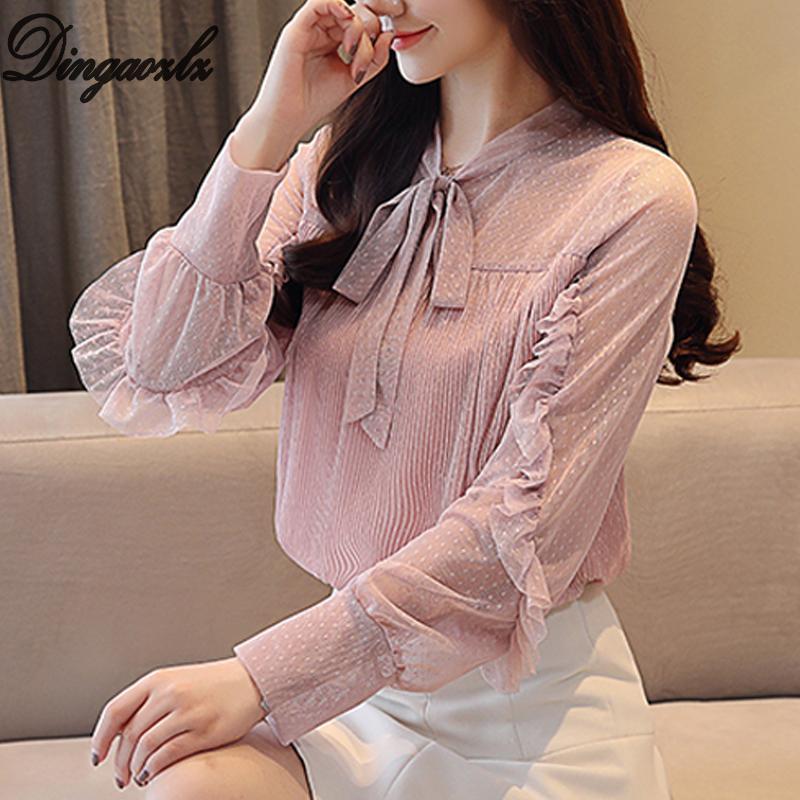 7f3b9bc370 Compre Dingaozlz 2018 Nueva Moda Coreana Camisa De Dama Camisa De Mariposa  Blusa De Mujer Pajarita Volantes Ropa De Mujer Blusas De Gasa Casual A   24.4 Del ...