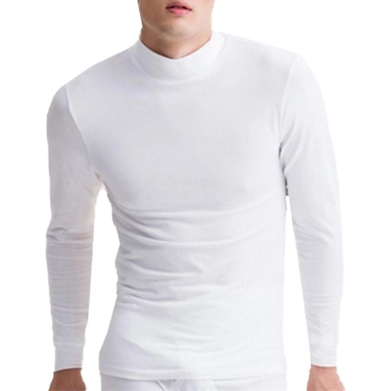 ed191a56d146 Turtleneck Slim Fit Warm T Shirt Men Pure Color Long Sleeve Pullover Men  Casual T Shirt Bottoming Hombre Winter Autumn Tops Tee A Team Shirts Be T  Shirts ...