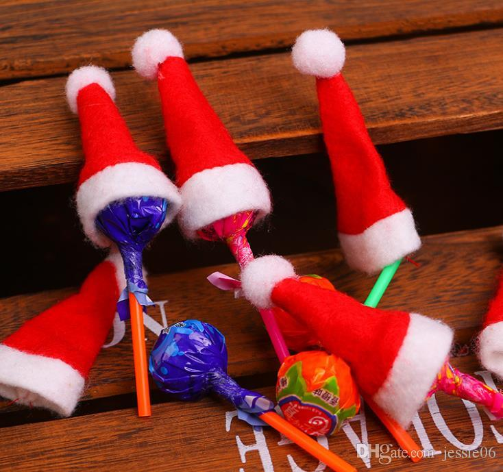 Mini Santa Claus Hats for Lollipop Christmas Party Holiday Lollypop Top Topper Wine Bottle Doll Decor Cap Tableware Covers event supplies