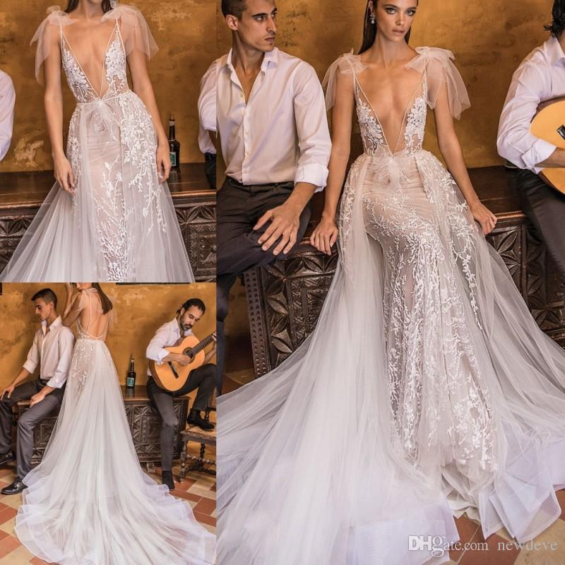 6216adeba Vestido Sereia De Noiva 2018 Berta Bridal Lace Vestidos De Casamento  Overskirts Sexy Mermaid Bridal Gowns Deep V Neck Illusion Bodice Court  Train Vestidos ...