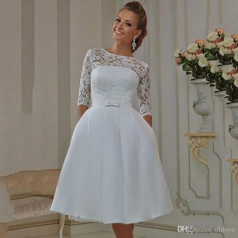 compre una línea de longitud de la rodilla vestidos de novia cortos