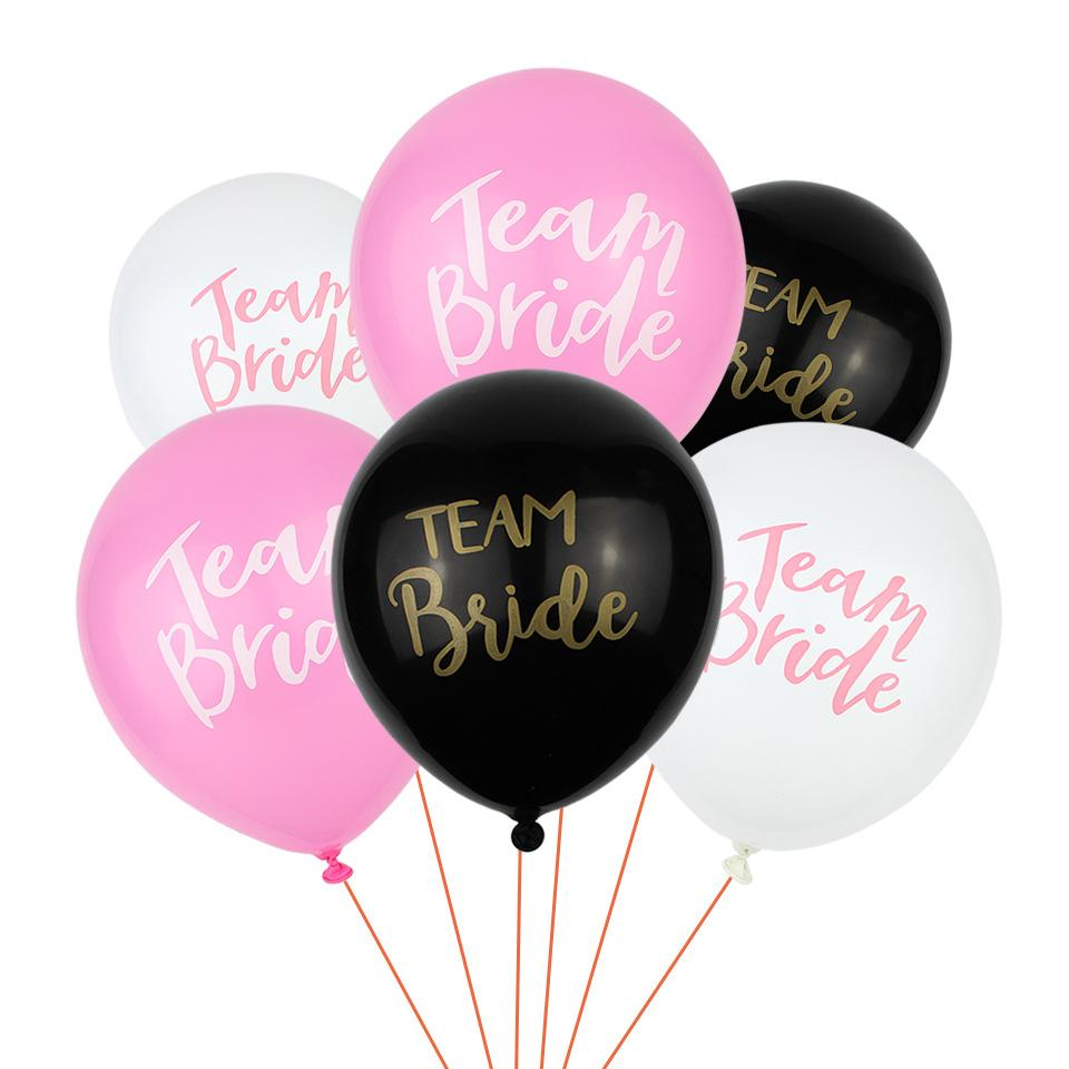 Team Bride Latex Printed Balloons Pink White Black Party Wedding ...