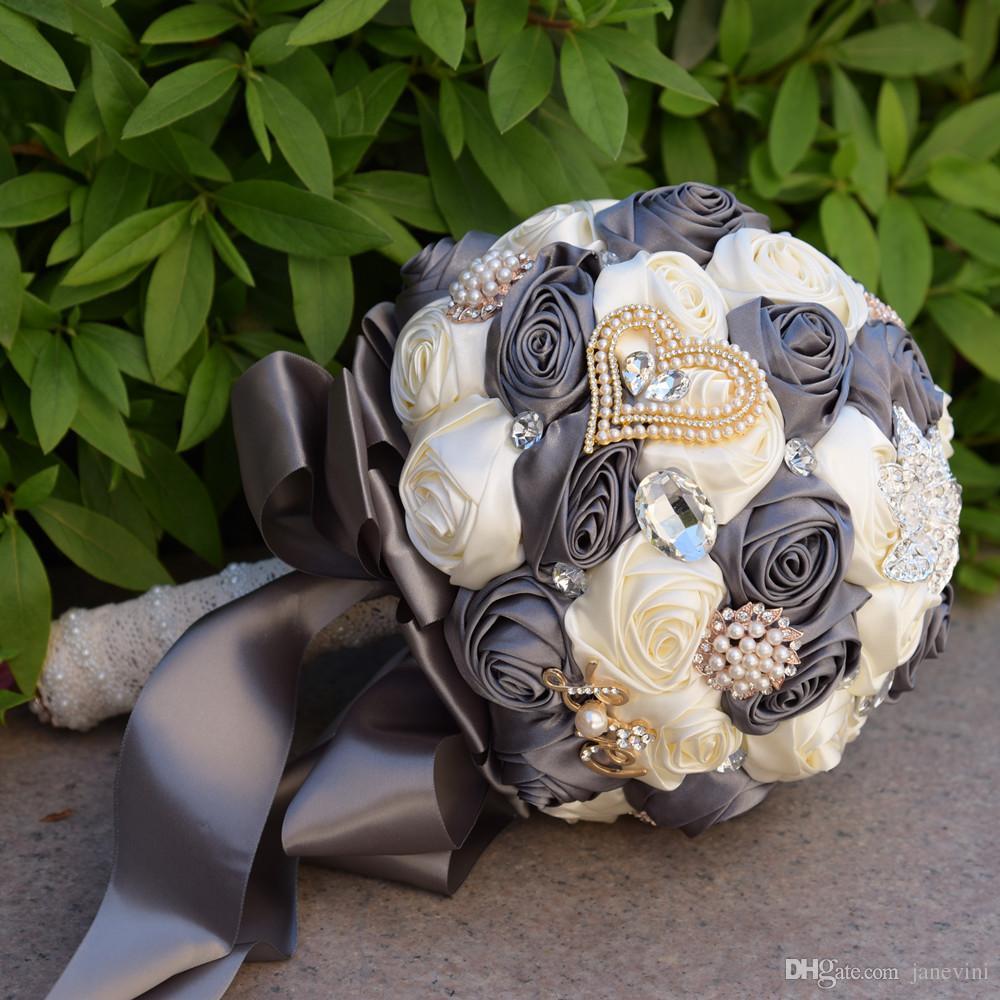 JaneVini Luxury Crystal Wedding Bouquets for Brides Lace Handle Satin Rose Beaded Pearls Bridal Flower Bouquet Boeketten Bouquet De Mariage