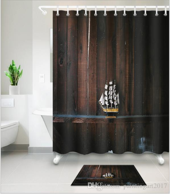 2019 3D Plank Boat Print Bath Shower Curtains Modern Style Curtain For Bathroom Decor With 12 Hooks Floor Mats Sets From Paintingart2017