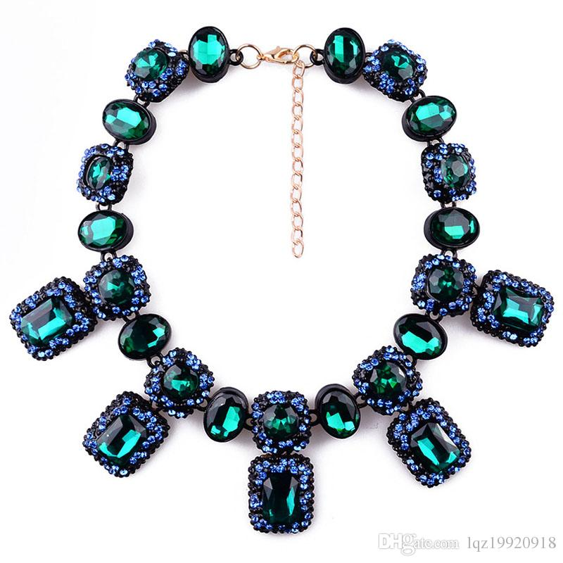 Women fashion diamond necklace mix colors Ameriacan big brand SHOUROUK hot sale imitation diamond glass stone high end eco-friendly necklace