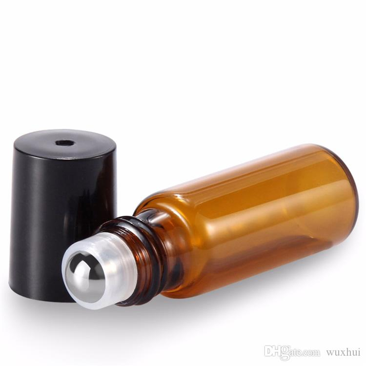Taşınabilir 50 adet / grup 5 ml 1/6 OZ Mini Rulo Şişe Parfüm Parfüm Cam Şişeler Uçucu Yağ Çelik Metal Rulo Topu Amber