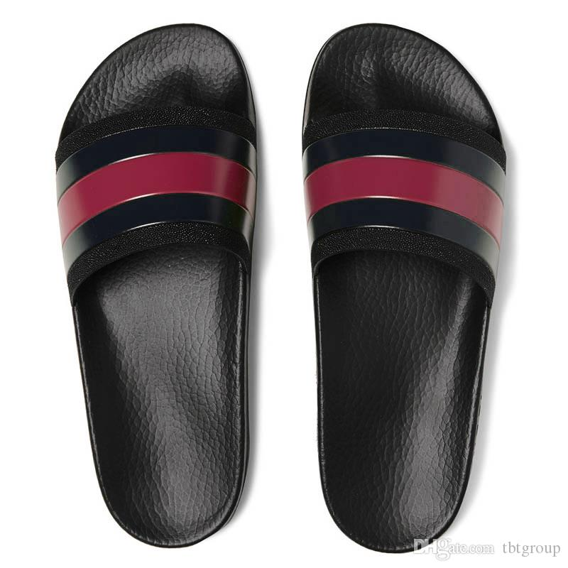 Fashion leather men women striped sandals causal Non-slip summer huaraches slippers flip flops slipper BEST QUALITY SIZE 4-11