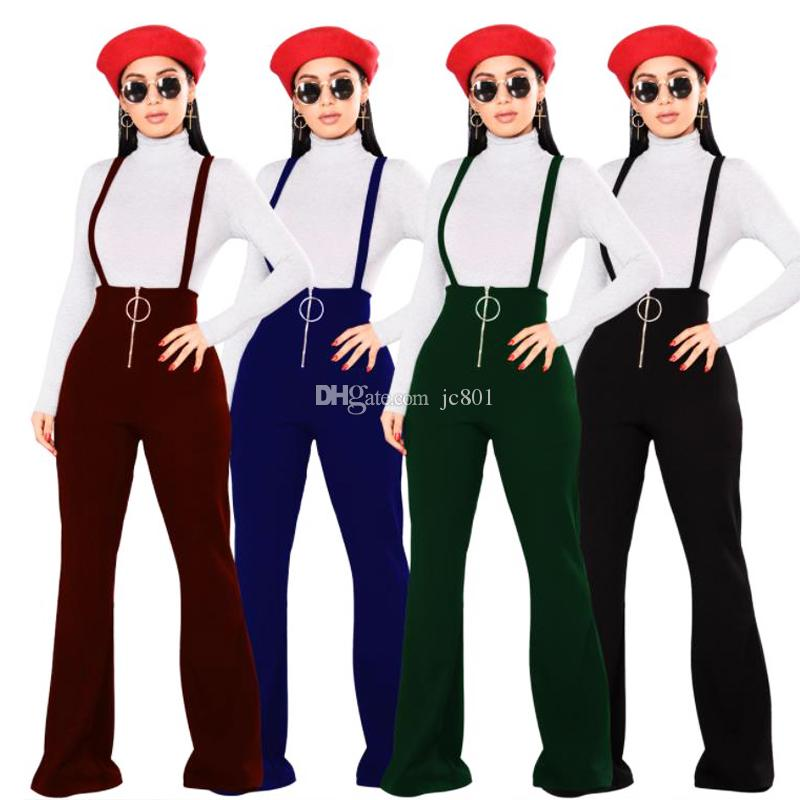 49f12874fc 2018 OL Women Braces Pant Overalls Bell-bottomed High Waist Mature  Jumpsuits O-ring Zipper Suspender Trousers Wide Leg Trousers