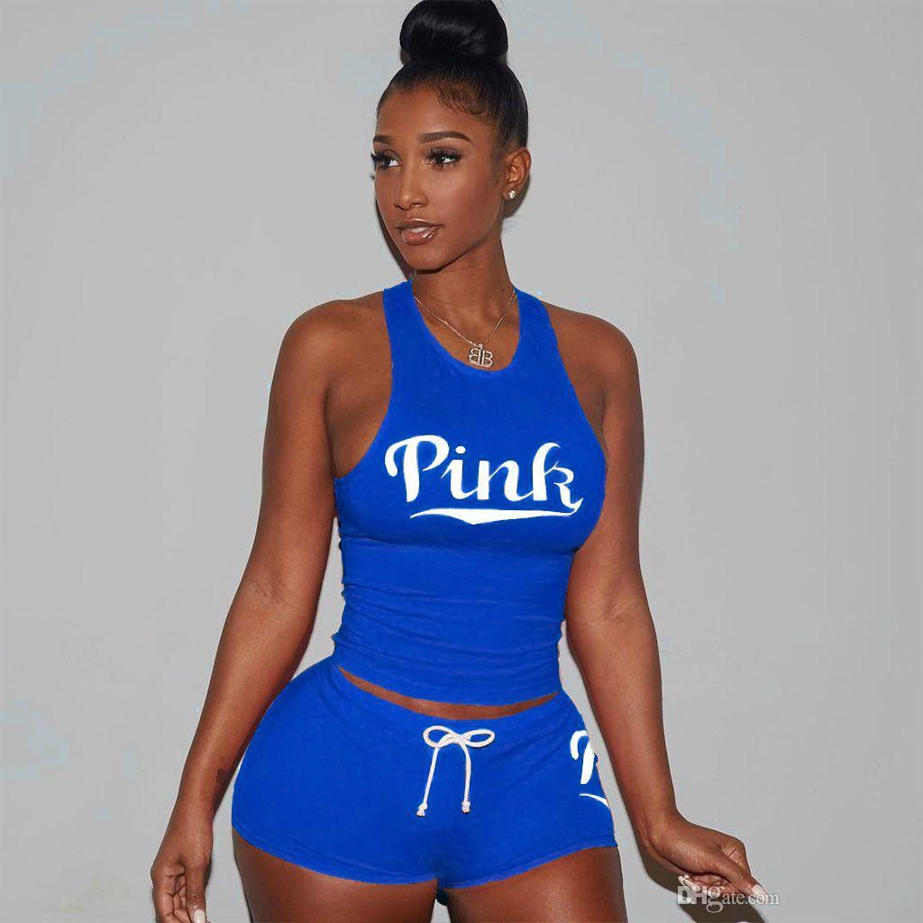 Sexy PINK Letter Summer shorts Outfit Sleeveless Tank Crop Top T-shirt +Shorts Clothing Set women Designer Tracksuit Sportswear Jogger suit