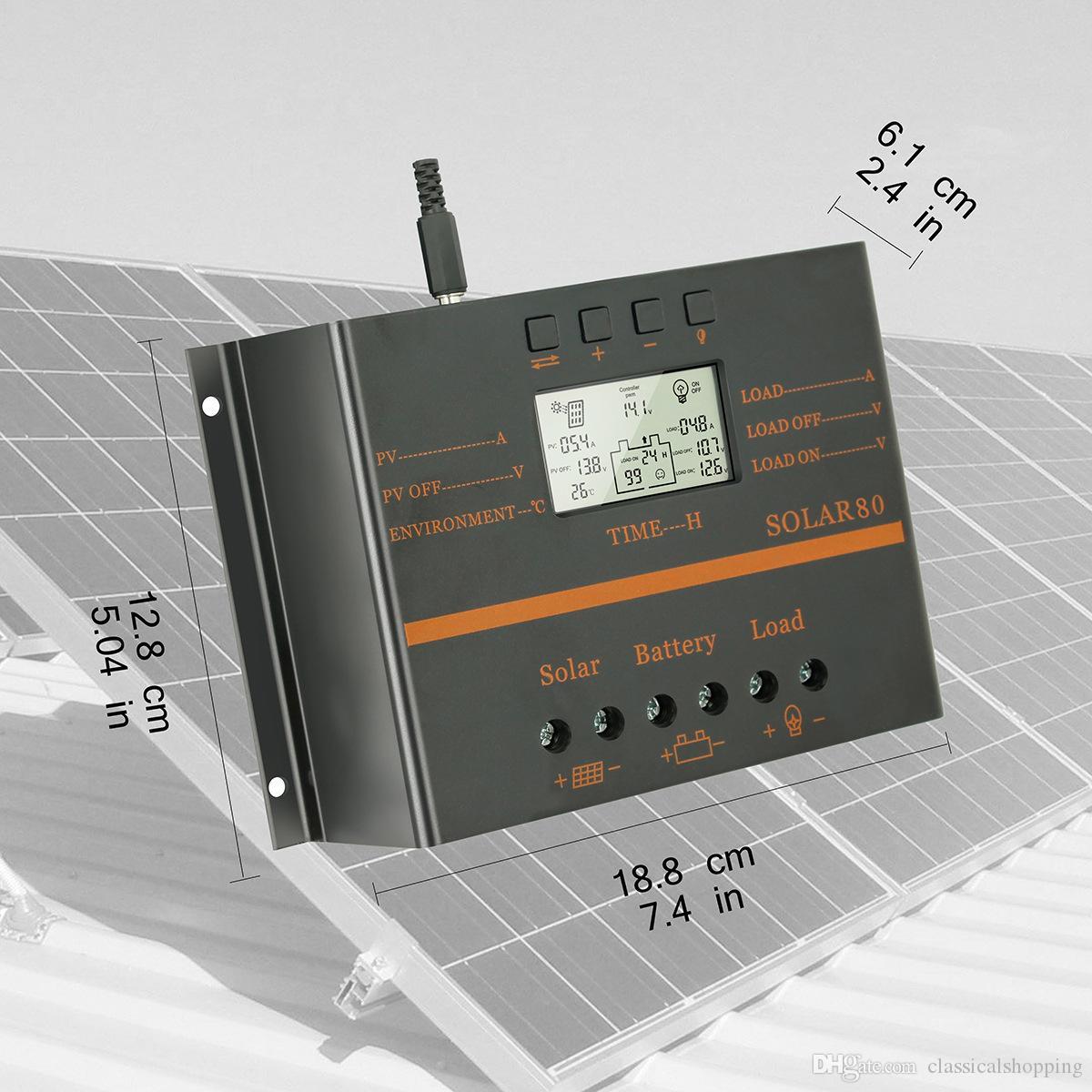 80A 12V 24V LCD Display Solar Panel Regulator Charge Controller With USB 5V +4X Z bracket Mount Flat Roof Wall Aluminum Set