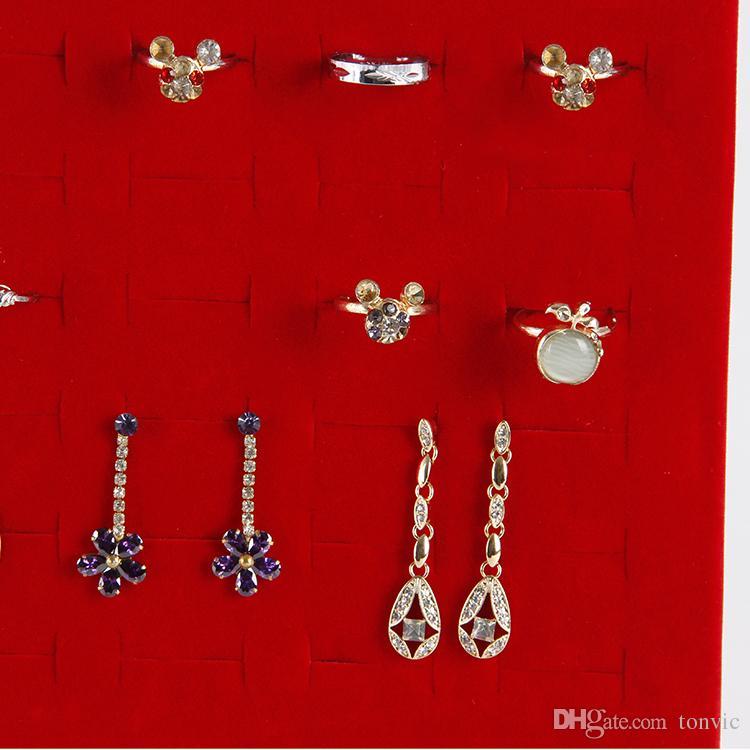 الجملة TONVIC المخملية حلقة القرط عرض موقف حامل حامل المجوهرات مع 50 ثقوب أسود / أحمر / رمادي / براون