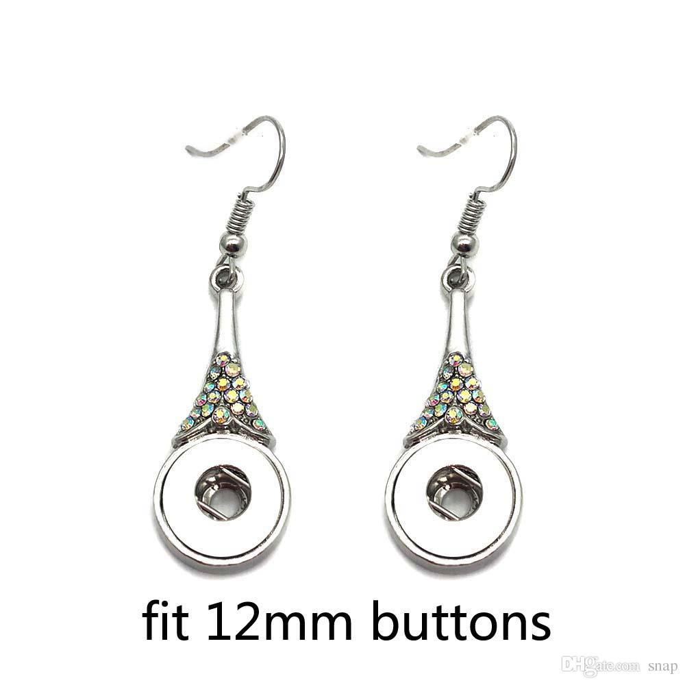 Hohe qualität 023 Strass Schmetterling 12mm Druckknopf Ohrring Für Frauen Charme Weiß K Überzogenes Design Schnappt Ohrringe Schmuck