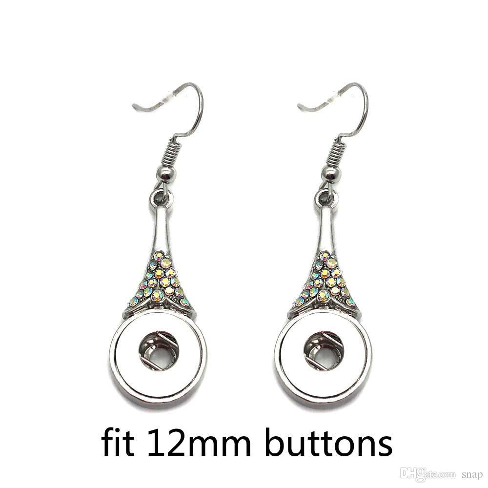 Yüksek kalite 023 Rhinestones Kelebek 12mm Snap Düğmesi Küpe Kadınlar Için Charms Beyaz K Kaplama Tasarım Snaps Küpe Takı