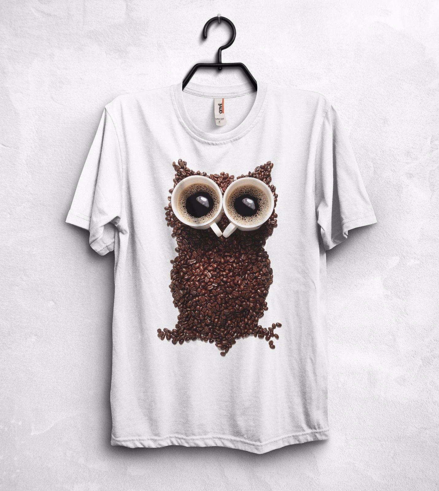 b6e5377a1 Compre Camisa Da Coruja De Café T Top Animais Feijão Robusta Arábica Hipster  Geek Nerd Engraçado GiftFunny Frete Grátis T Casual De Luckytshirt