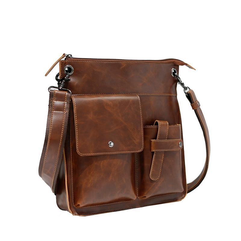 ea8d6159f26 GUMST Vintage Crazy Horse PU Leather Men Bags Hot Sale Male Messenger Bag  Man Fashion Crossbody Shoulder Bag Men's Travel Crossbody Bags Cheap  Crossbody ...