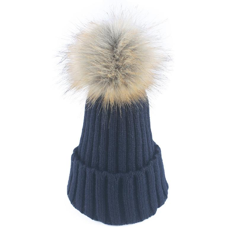 38b24d3d2f0 Real Fur Winter Hat Raccoon Pom Pom Hat For Women Brand Thick Women Girls  Caps Knitted Beanies Cap Wholesale 2017 New Pom Pom Hat Pom Hats Fur Winter  Hat ...