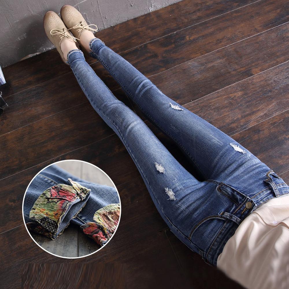 Déchirés En Slim Poignets Trous Pantalon Jeans Lavés Florale Denim Crayon Mode Couture Pantalons Femmes Sexy XuPikOZ
