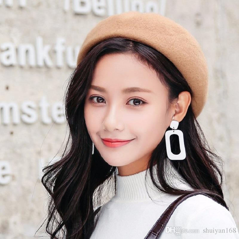 2019 Winter Wool Beret For Women Lady Girls Beret Flat Cap Winter ... 0e48b3061f7