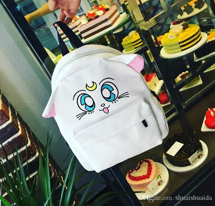 High-capacity. Children's bags. Cute cartoon double shoulder bag. Knapsack. Black canvas bag. Cartoon cat. Backpack. Casual fashion bag. A01