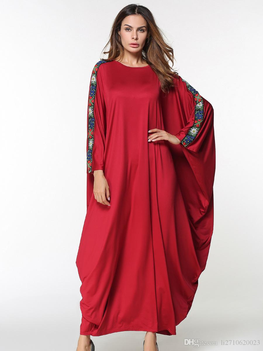 6330cb54f Compre Novo Árabe Elegante Solto Abaya Kaftan Islâmico Moda Muçulmano  Vestido De Roupas De Design Das Mulheres Vermelho Maxi Vestidos Dubai Abaya  Loose Robe ...