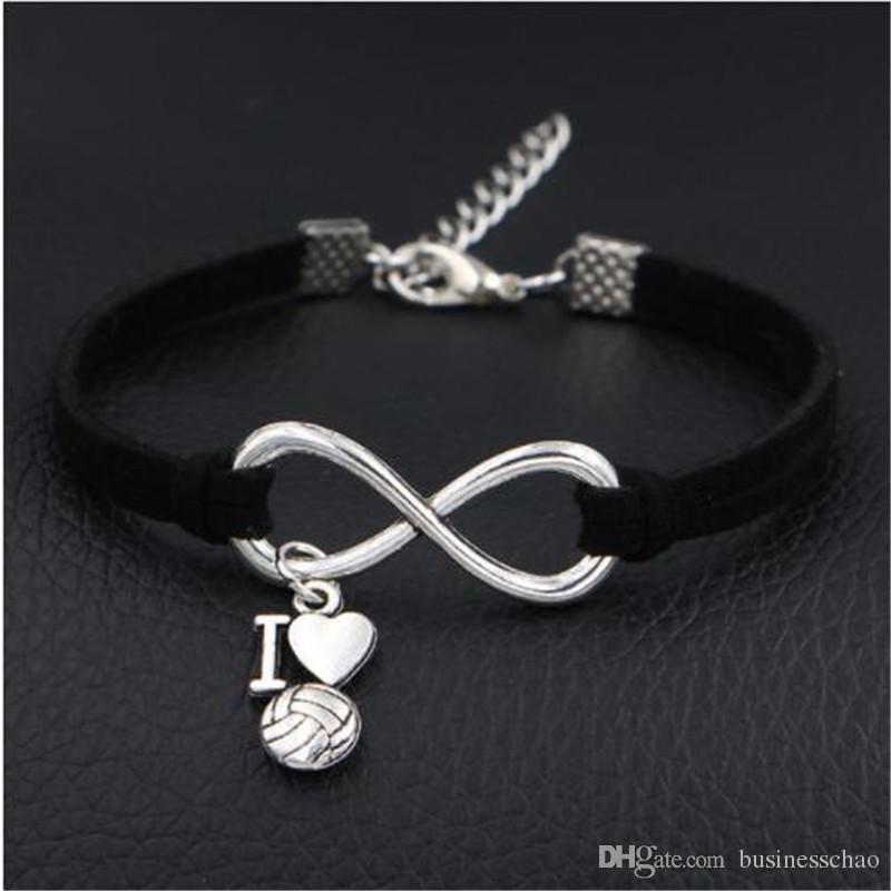 83fa67eb92b3 Nuevo diseño hecho a mano diy vintage antiguo plata infinito amo voleibol  corazón amistad pulsera de cuerda de cuero negro para mujeres hombres ...