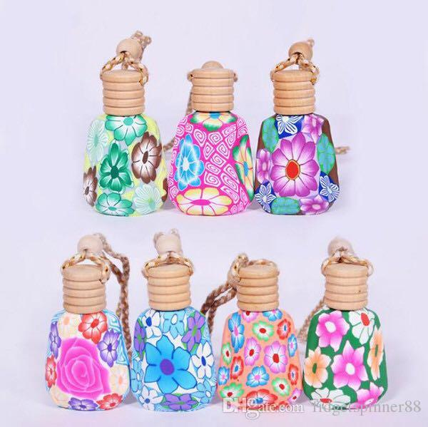 Free Shipping 15ml Mix Color Car Hanging Decoration Pendant Pottery Essential Oils Perfume Bottle High Quality Ceramic Glass Hang Rope Empty