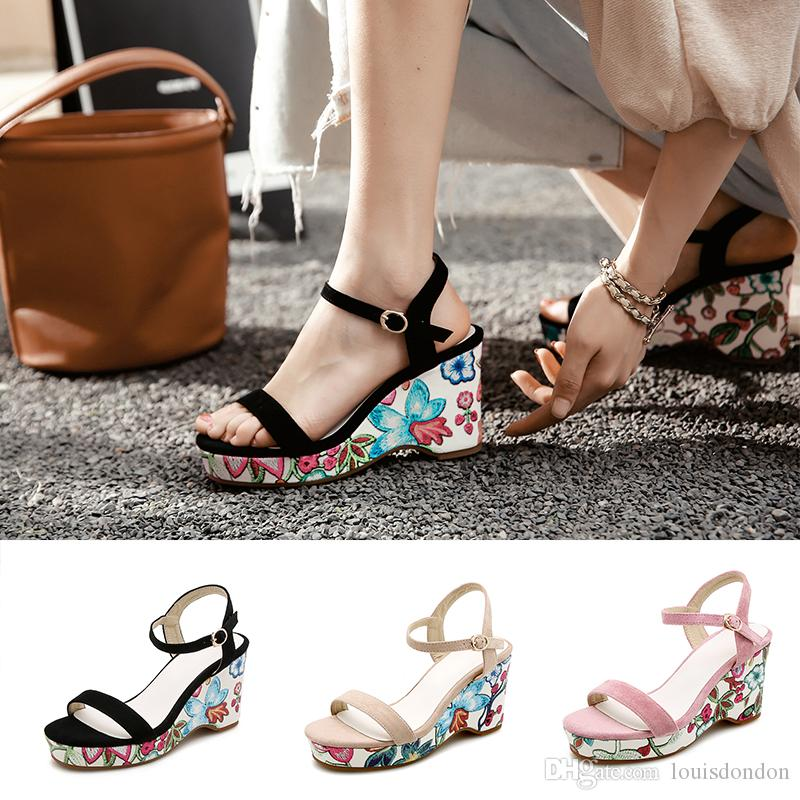 cf1a7a46a Women S Bohemian Style Wedge Sandals High Platform Flowers Embroidery Suede  Ankle Strap Party Fashion Summer Shoes Platform Heels Black Sandals From ...