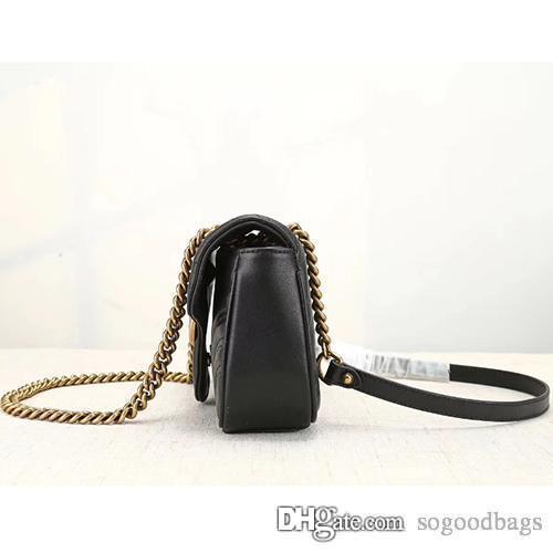e5d32da326e Free shipping New gift Fashion black chain makeup bag famous luxury party  bag Marmont cowhide leather shoulder bag Women top designer bags
