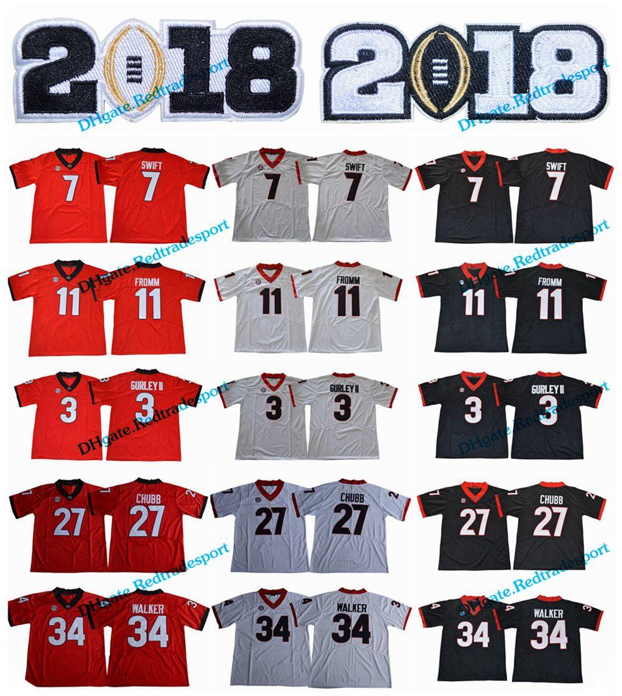 9823021a4 2019 2018 New Georgia Bulldogs 11 Jake Fromm 7 D'Andre Swift 27 Nick Chubb  34 Herchel Walker 3 Todd Gurley II 10 Herring College Football Jersey From  ...