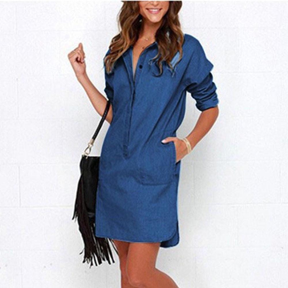 Women Blue Denim Dress Buttons Lapel Casual Shirt Dress Autumn Long Sleeve  Dresses Within Pockets Lady Shift Dress  L Sexy Cocktail Dresses Short  Formal ... 2d11c788f