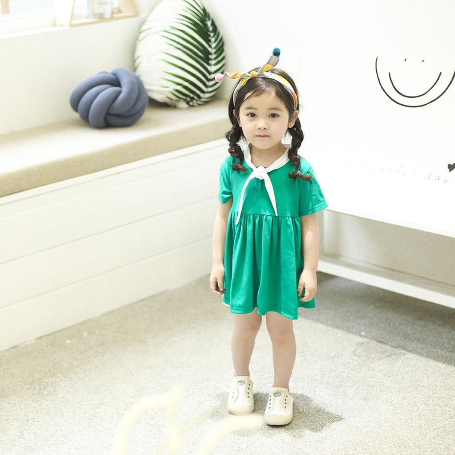 4f061510ebb66 2018 Children Dress Girls College Wind Dresses Baby Summer Short Sleeve  Cotton Classic Princess Dress for Toddler Kids Clothes