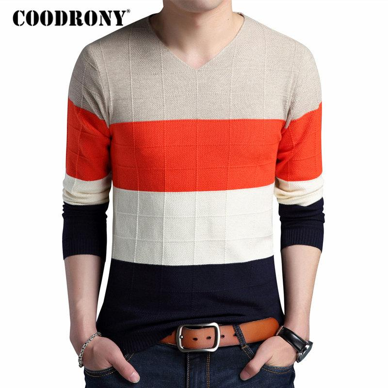33149734b9a COODRONY Thick Warm Pullover Men Casual Striped V-Neck Sweater Men Clothing  2018 Autumn Winter Knitwear Sweaters Pull Homme 8160
