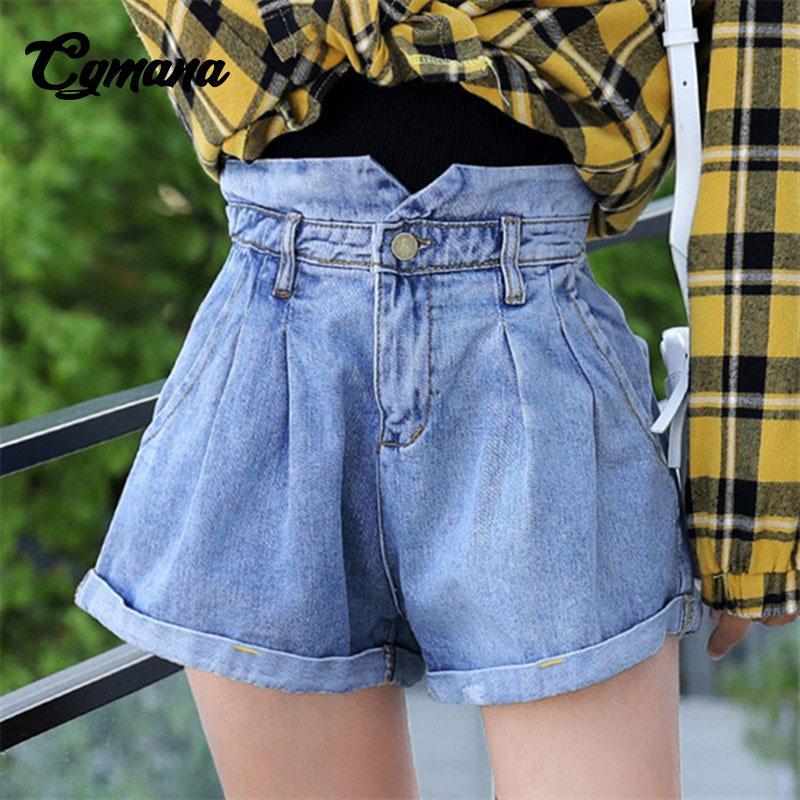 Acheter CGmana Denim Shorts Femmes 2018 Été Taille Haute Taille Élastique Large  Shorts Jambes Harajuku Casual Filles Jeans Pour Femmes De  24.23 Du Sincha  ... 1e4ba470ac1