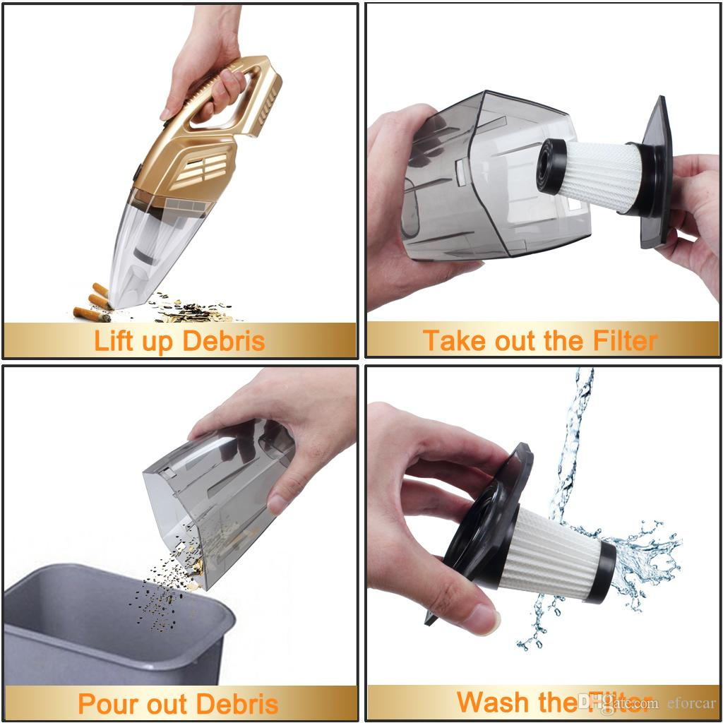 Car Vacuum Cleaner,EFORCAR Coreless Rechargeable Handheld Auto Vacuum Sweeper Vehicle Home Office Wrieless Dust Catcher Remover 12V 100W New
