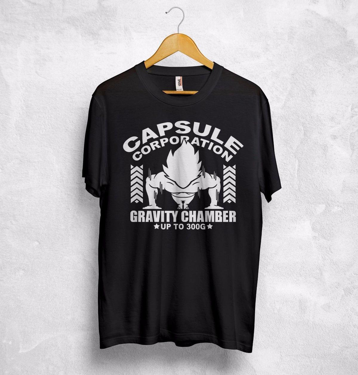 Capsule Corp Corporation Maglietta Gravity Chamber Dragon Ball Son Goku Vegeta
