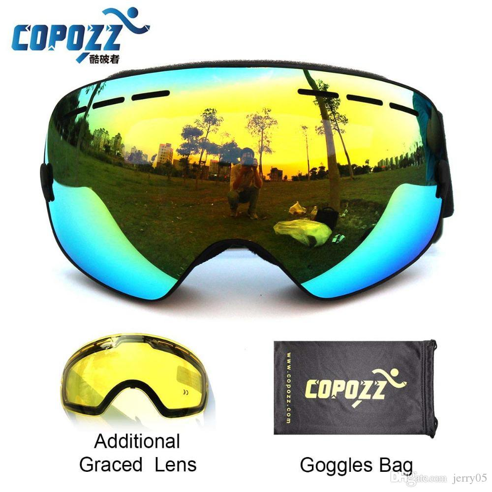 302c8f9ed3c 2019 COPOZZ Brand Ski Goggles Double Lens UV400 Anti Fog Unisex Snowboard  Ski Glasses With Night Vision Ski Lens From Jerry05