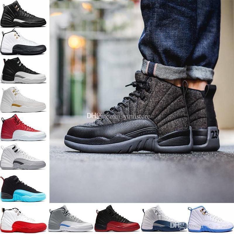 buy online 4b40b c6874 Wholesale 12 Bordeaux Basketball Shoes Men Sport Shoe Bordeaux 12s TAXI  Playoff BLAck Suede Sports Athletic Trainers High Quality Sneakers