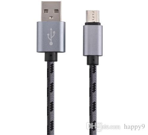 1 m Micro USB2.0 grade Android linha de dados tecida linha de carregamento de nylon telefone inteligente geral atacado