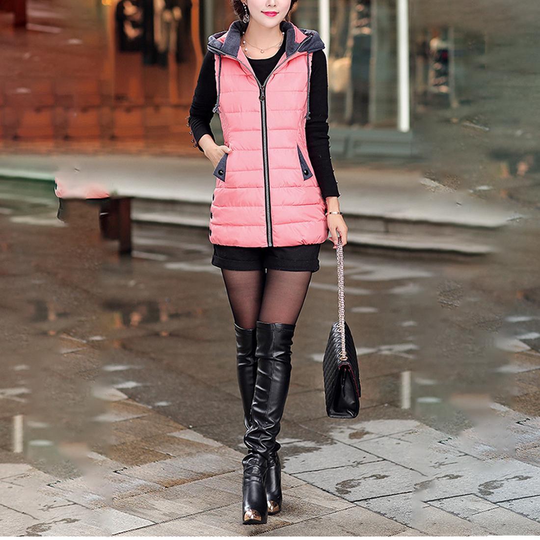Top vende otoño invierno chaleco mujer chaleco sin mangas chaqueta con capucha cálido chaleco largo más el tamaño 5XL