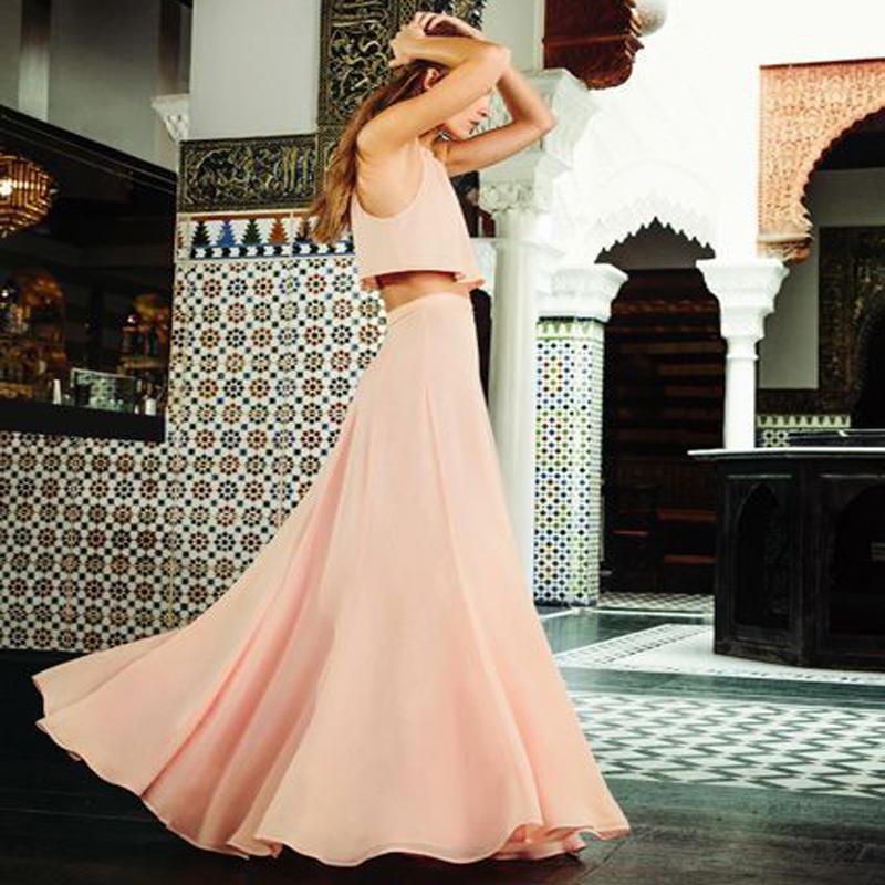 2019 Light Pink Chiffon Maxi Skirts Graceful A Line Floor Length