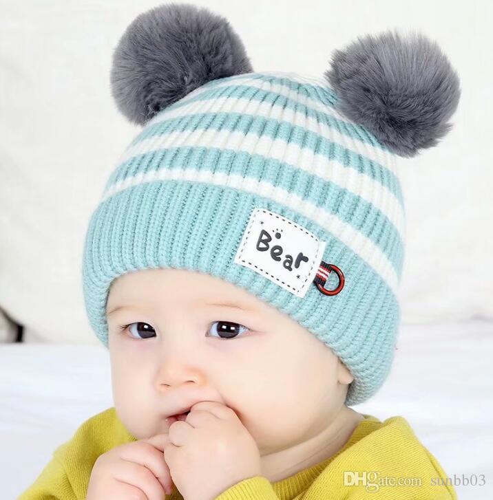ee44c8766 New Autumn Winter Cute Infant Baby Hat Kids Knitted Cap Wool Ball Stripe  Girls Boys Warm Beanies Child Babies Hats M183