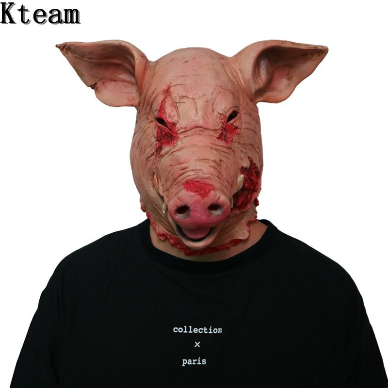 New Hot1PC Saw Pig Head Scary Masks Novelty Halloween Mask With Hair Halloween Mask Scary Cosplay Costume Latex Holiday Supplies