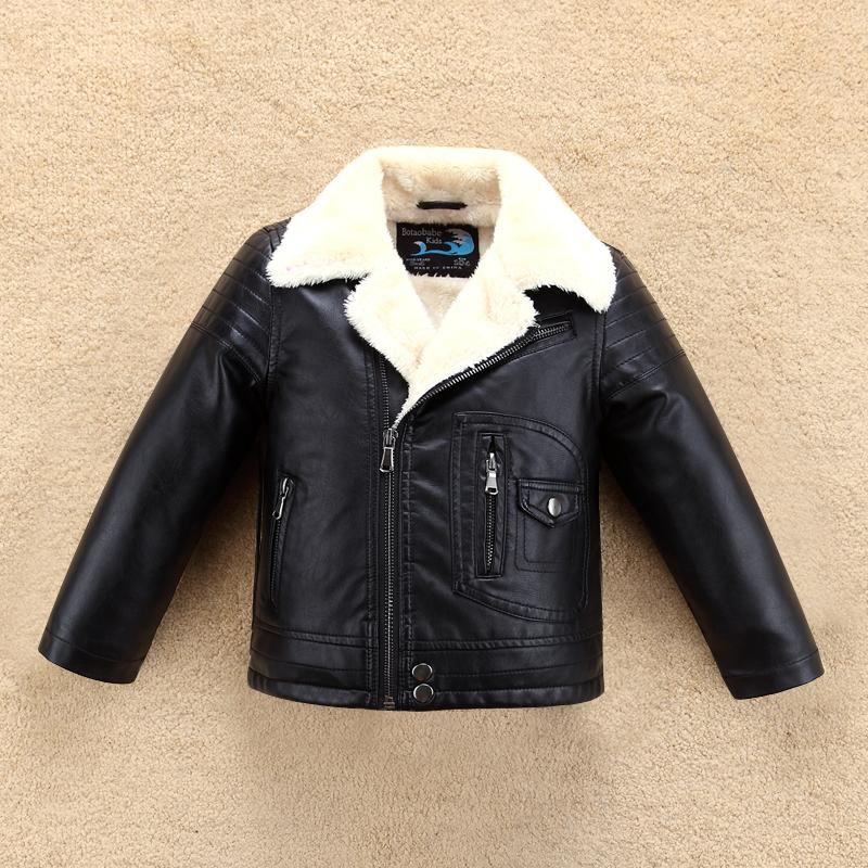 4ff443c5c Thick Cool Design Boys Leather Jacket with Fur Collar for Autumn Winter  Kids Warm Coat Bomber Outwear Children's Clothing