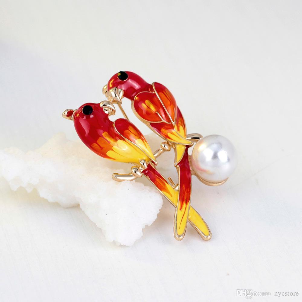 Broches Do Papagaio Pássaro Duplo Vintage Esmalte Broche Pin Imitação de Pérolas Acessórios de Vestuário