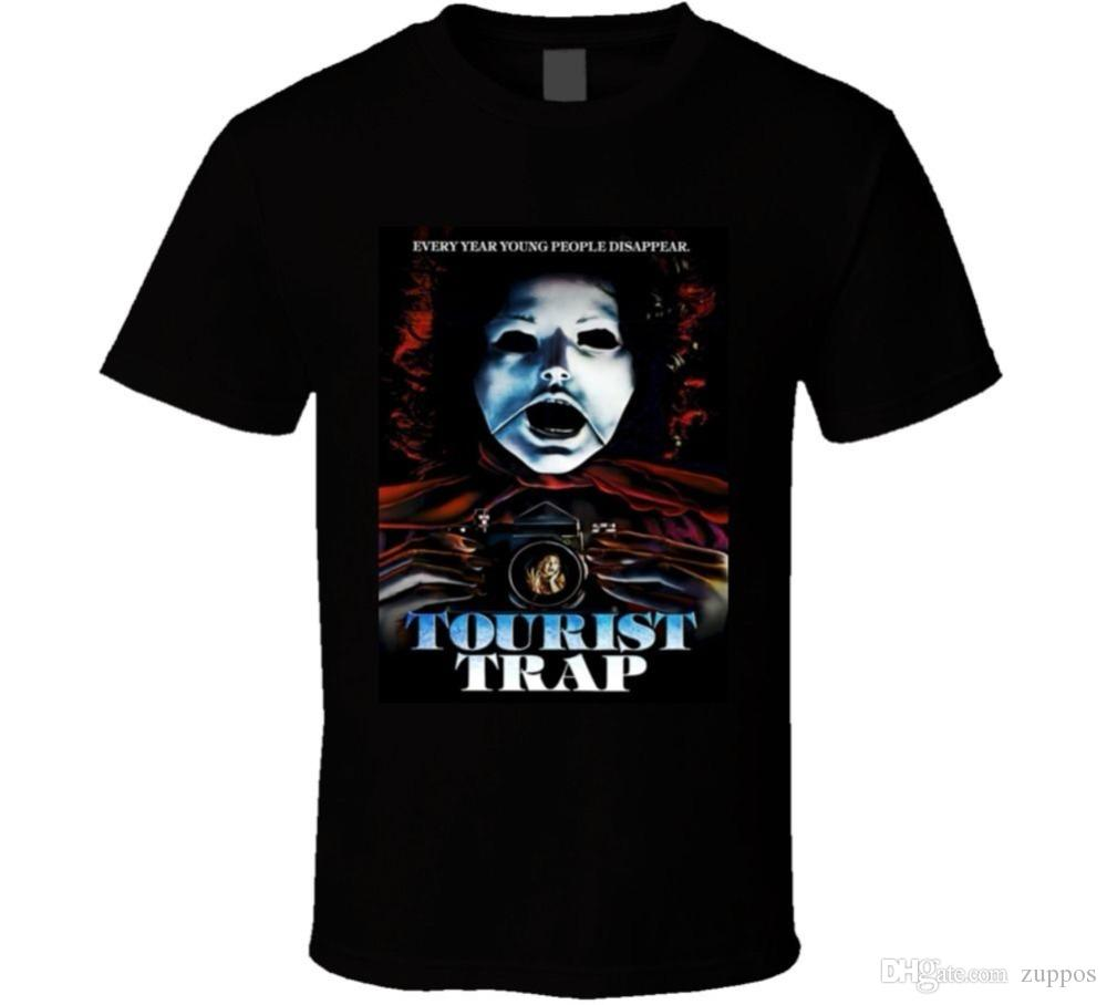 2018 New Summer T-shirts Tourist Trap 70s Cult Classic Horror Movie T shirt  Cotton Tee Shirts Short-sleeve Designer shirts