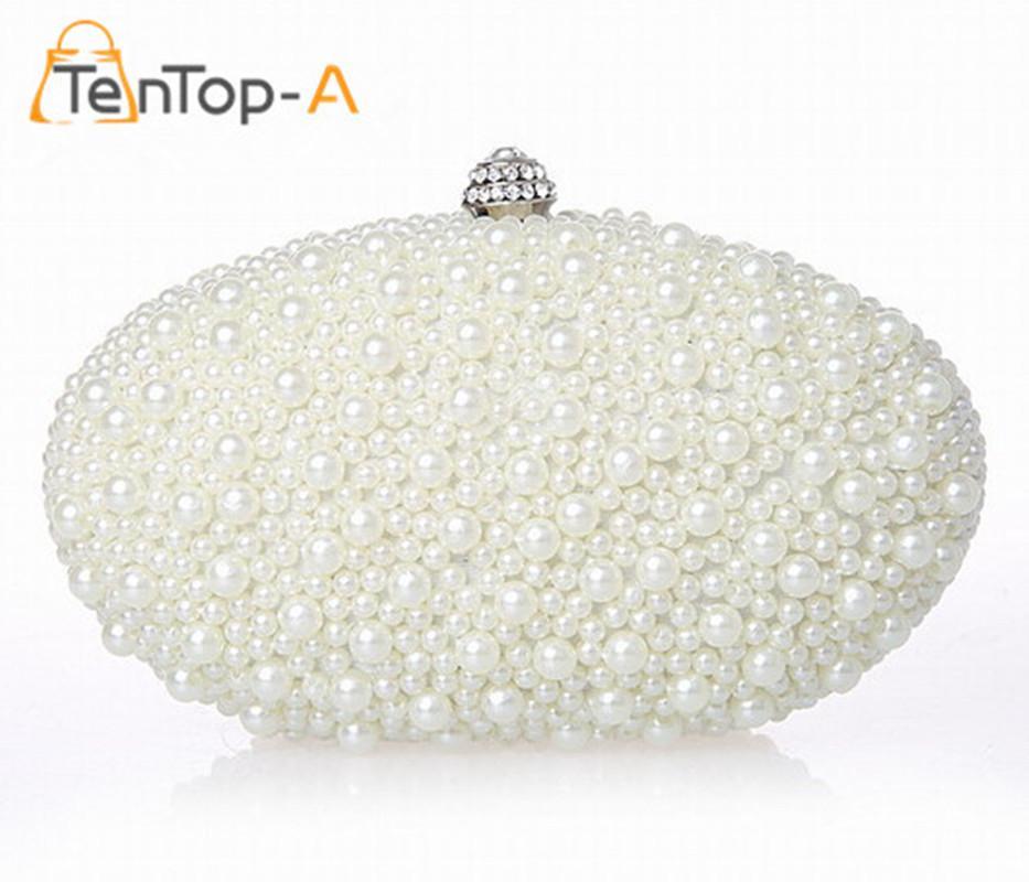 TenTop A Handmade Pearl Clutch Bag Oval Shape Beaded Evening Bag Clutch  Solid Purse Diamond Wedding Handbag Black Clutch Satchel Handbags From  Kingless 1fcca027009d